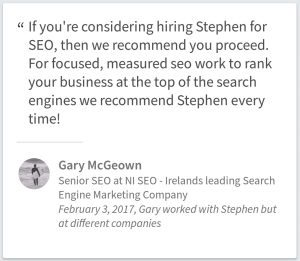 Search Engine Optimization Services Testimonial By Gary McGeown Of Belfast UK