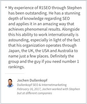 SEO Testimonial Jochen Dullenkopf Mittelbiberach Germany