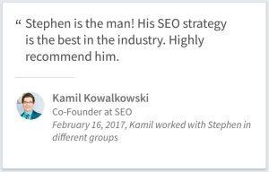 SEO Consulting Testimonial By Kamil Kowalkowski Of Chicago IL