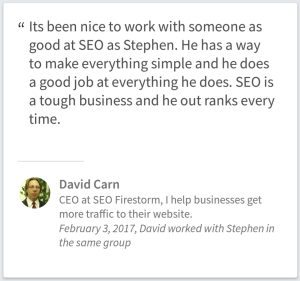 SEO Service Testimonial David Carn Of Brigham City Utah
