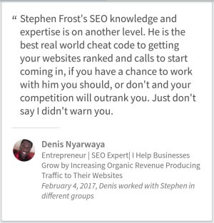 SEO Testimonial By Denis Nyarwaya From Houston TX