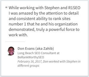 SEO Consulting Testimonial By Don Evans Of Long Beach California