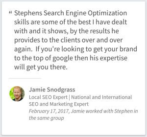 SEO Consulting Testimonial By Jamie Snodgrass Of New Brunswick Canada