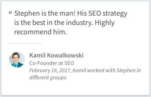 SEO Consulting Testimonial By Kamil Kowalkowski Of Chicago IL